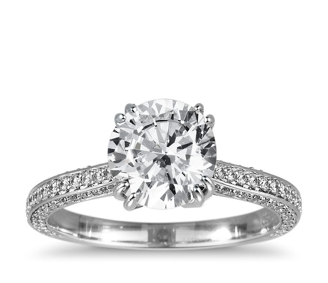 Heirloom Micropave Diamond Engagement Ring in Platinum (1/3 ct. tw.)